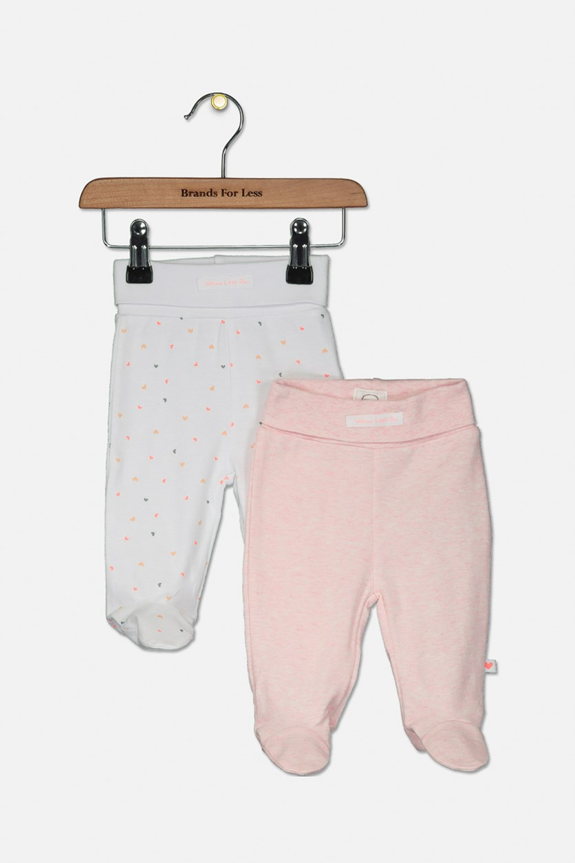 Baby Girl's 2 Pack Pants, Pink/White