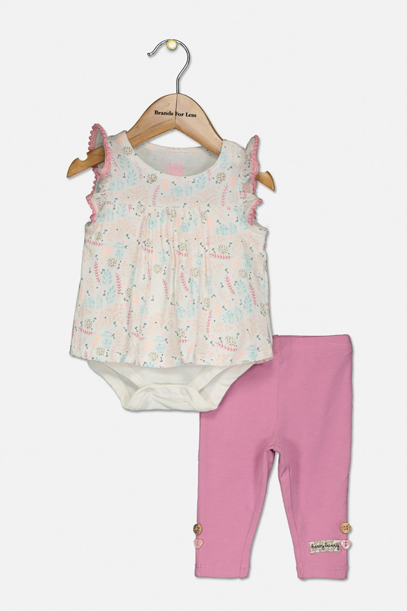 Baby Girl's Romper And Legging Set, Pink/WhitE Combo