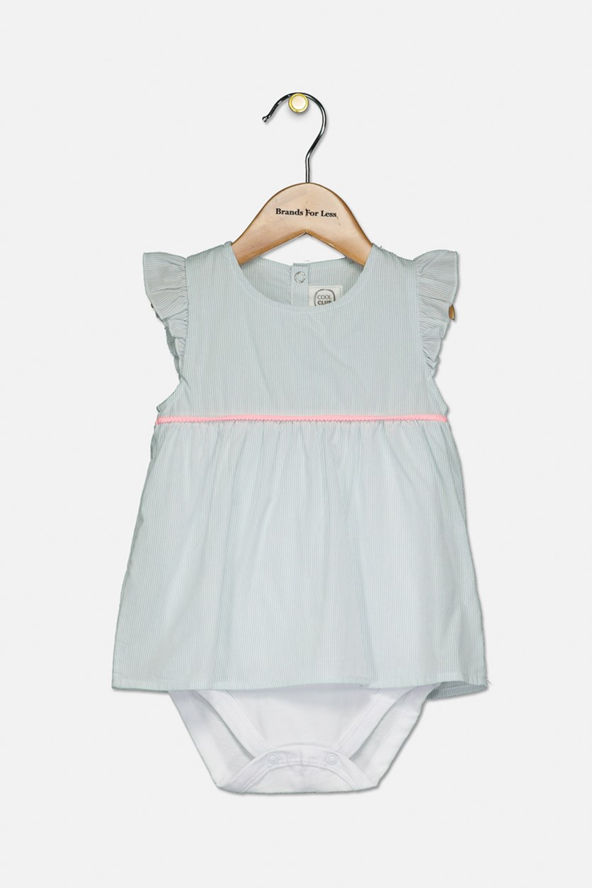 Toddler Girls Ruffle Sleeve Stripe Dress, Light Blue