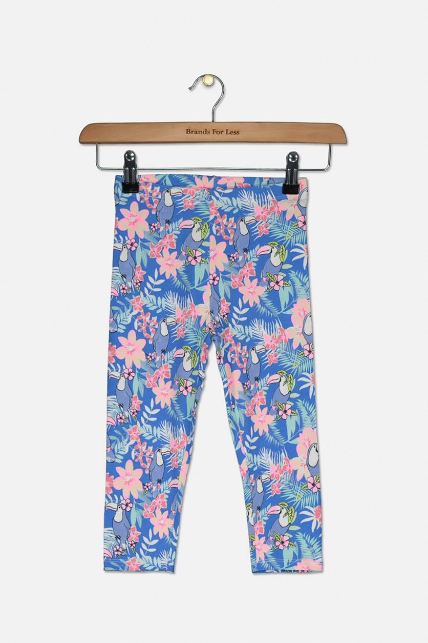 Girl's Floral Legings, Blue Combo