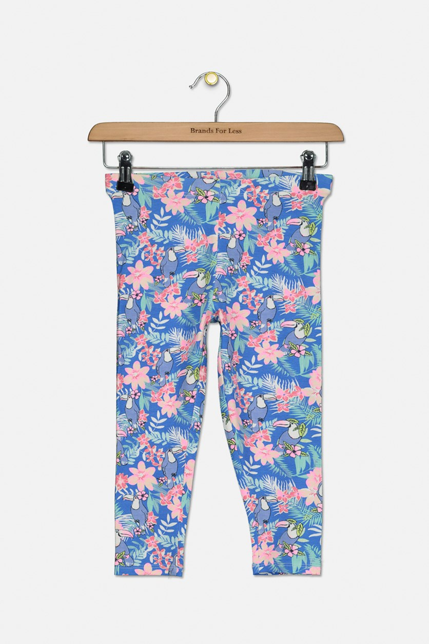 Kids Girls Floral Bird Print, Blue/Pink Combo