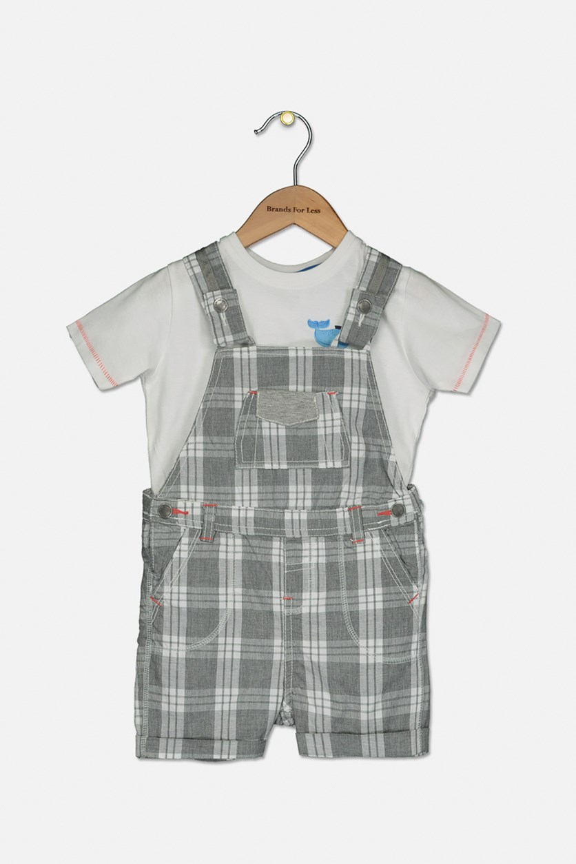 Toddler Boys Plaid Jumpsuit & Shirt Set, Gray/White