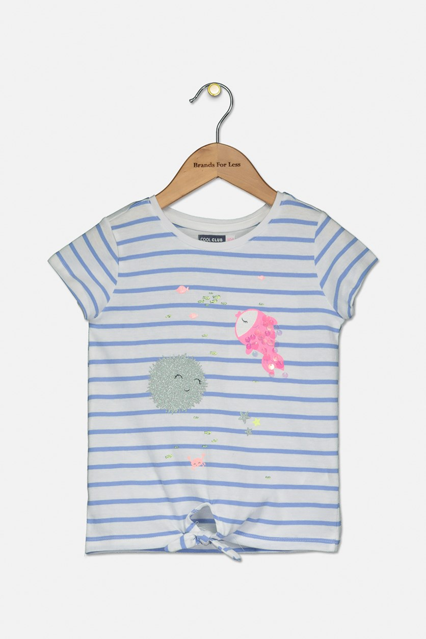 Little Girl's Under The Sea Printed Top, Blue Stripe