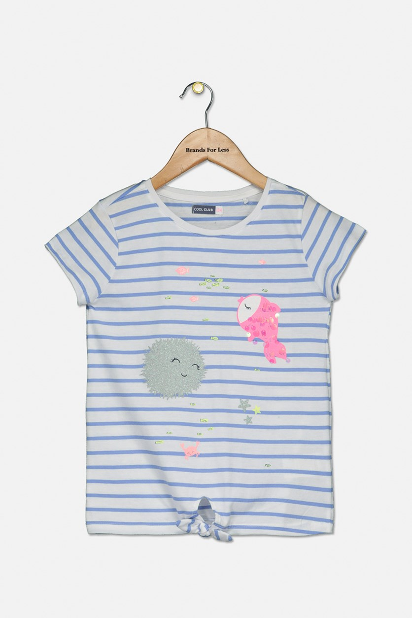 Girl's Under The Sea Printed Top, Blue Stripe