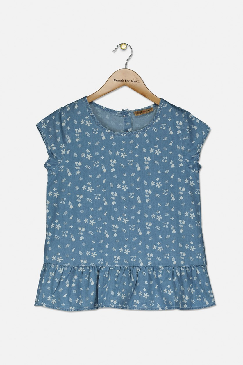 Kids Girls Floral Short Sleeve Top, Chambray