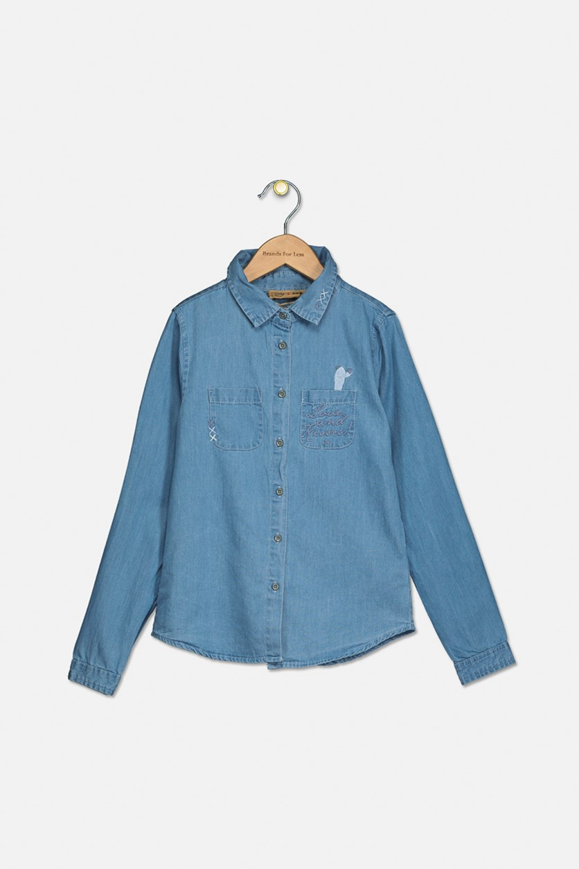 Girl's Long Sleeve Embroidered Top, Chambray