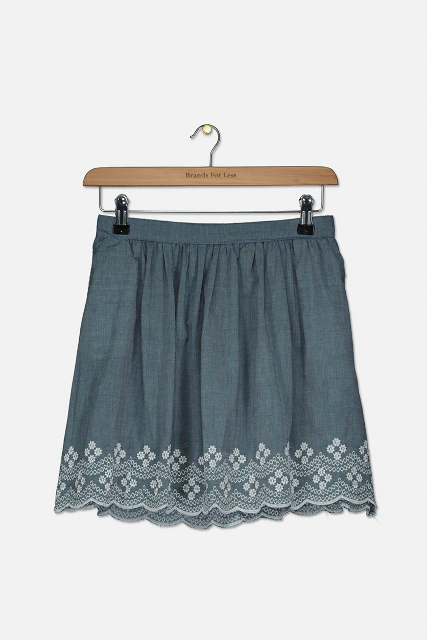Kids Girls Embroidery Skirt, Chambray