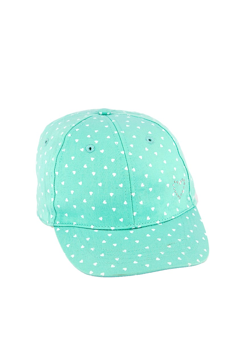 Girls Heart Print Cap, Turquoise