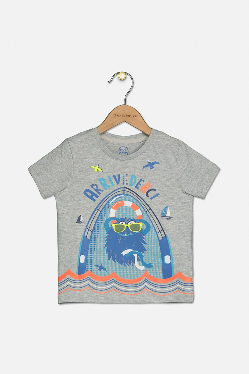 Toddler Boys Graphic T-Shirt, Grey Combo
