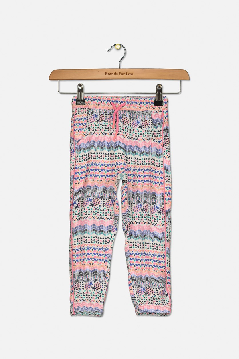 Baby Girl's Allover Print Pants, Pink/Blue Combo
