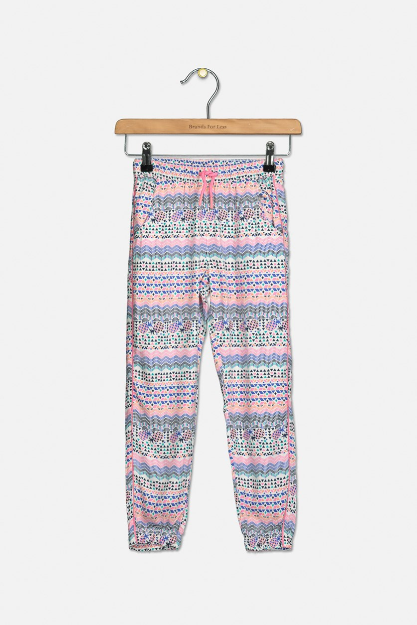 Girl's All Over Print Pants, Pink/Blue Combo