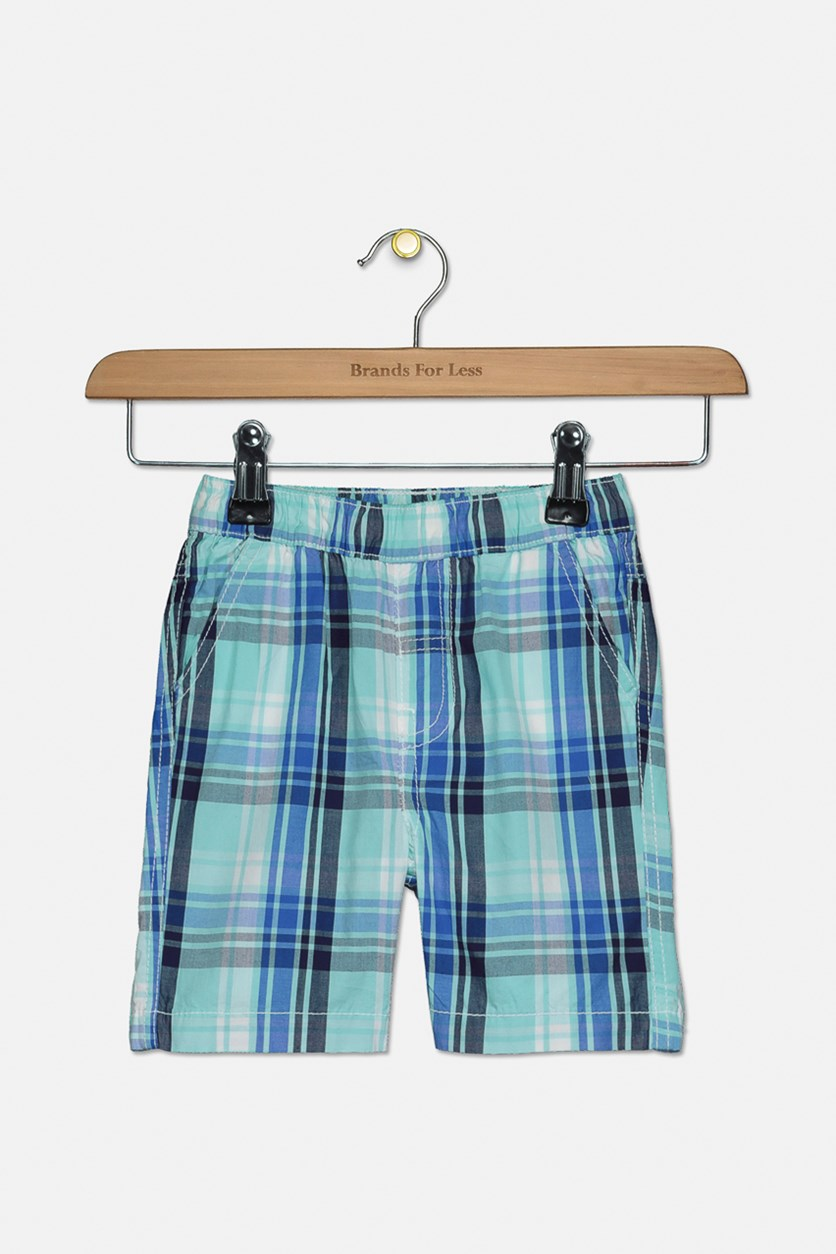 Toddler Boys Plaid Side Pocket Shorts, Turquoise/Navy