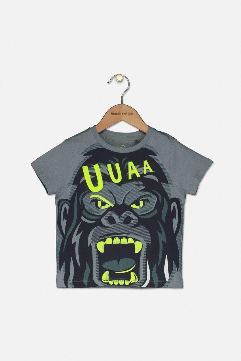 Little Boys Graphic T-Shirt, Gray/Neon Green