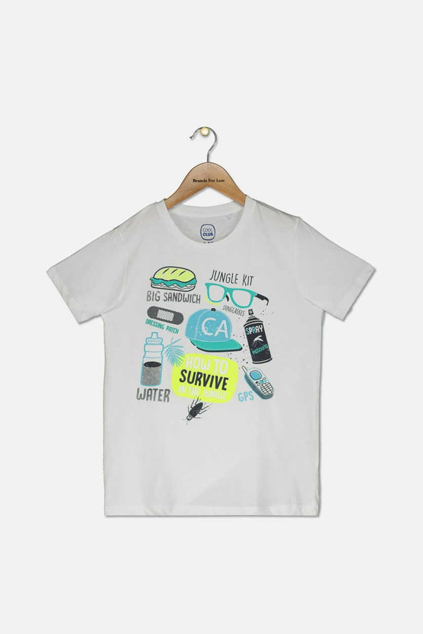 Boy's Short Sleeve Graphic T-Shirt, White