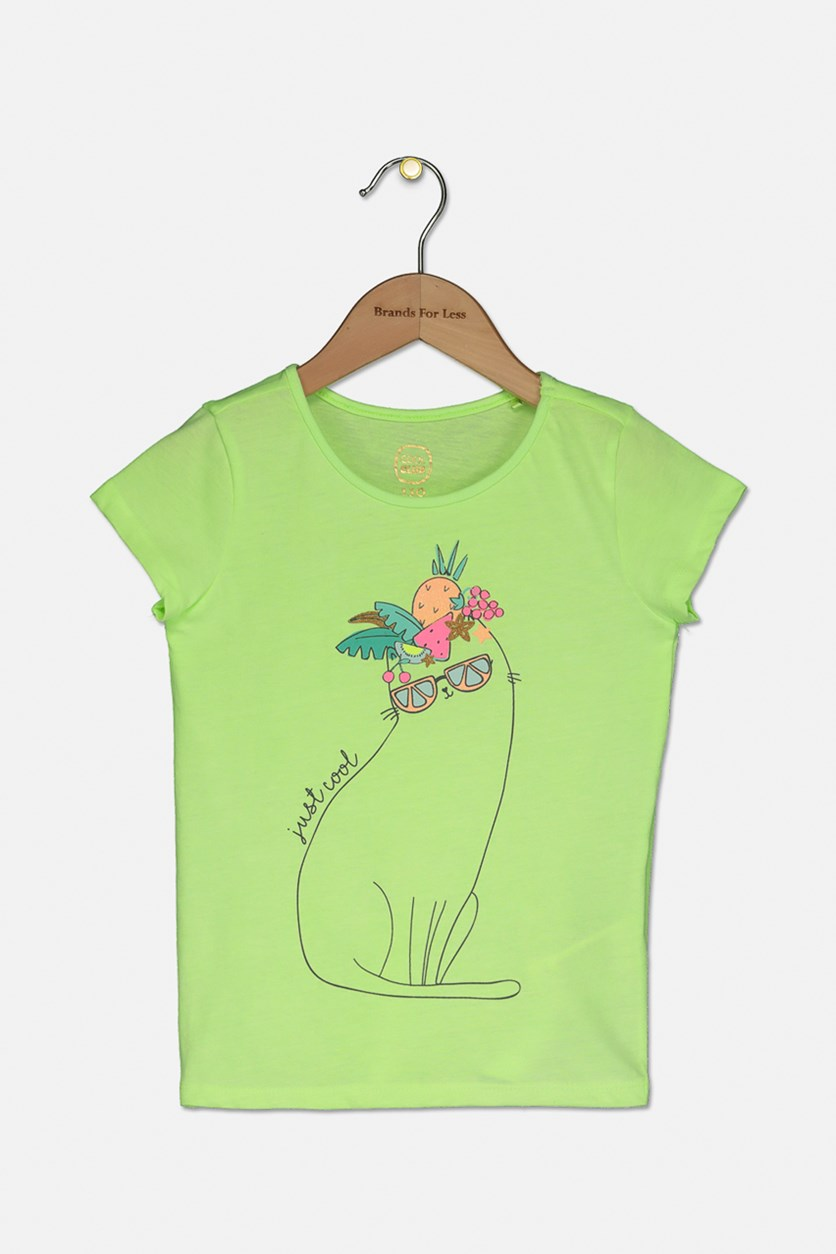 Kids Girls Cat Printed