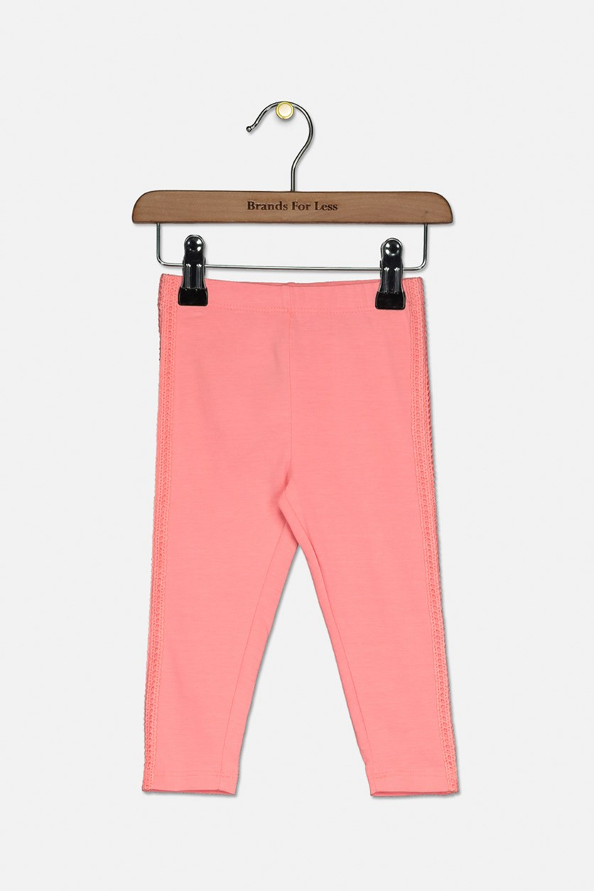 Baby Girls Embroidered Side Leggings, Pink