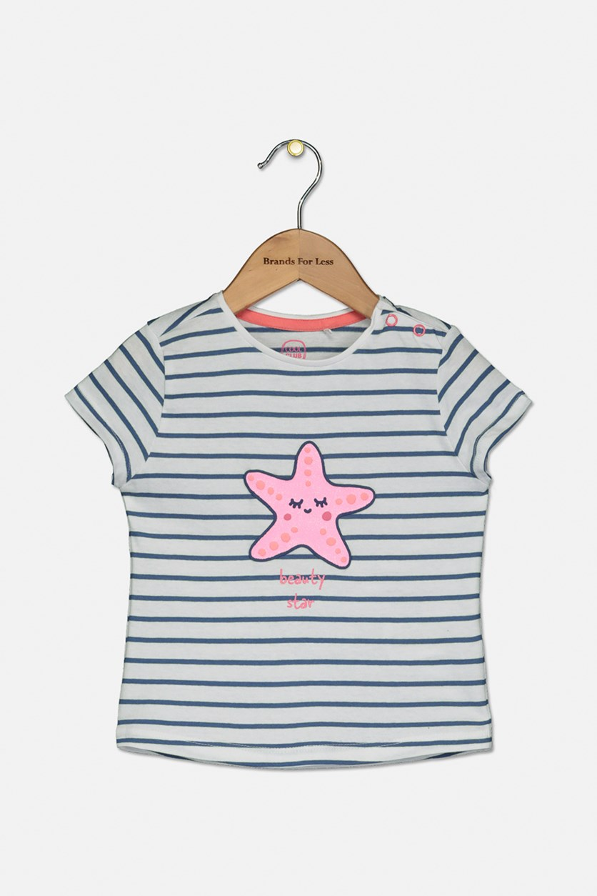 Toddler Girls Stripe Beauty Star Top, White Combo