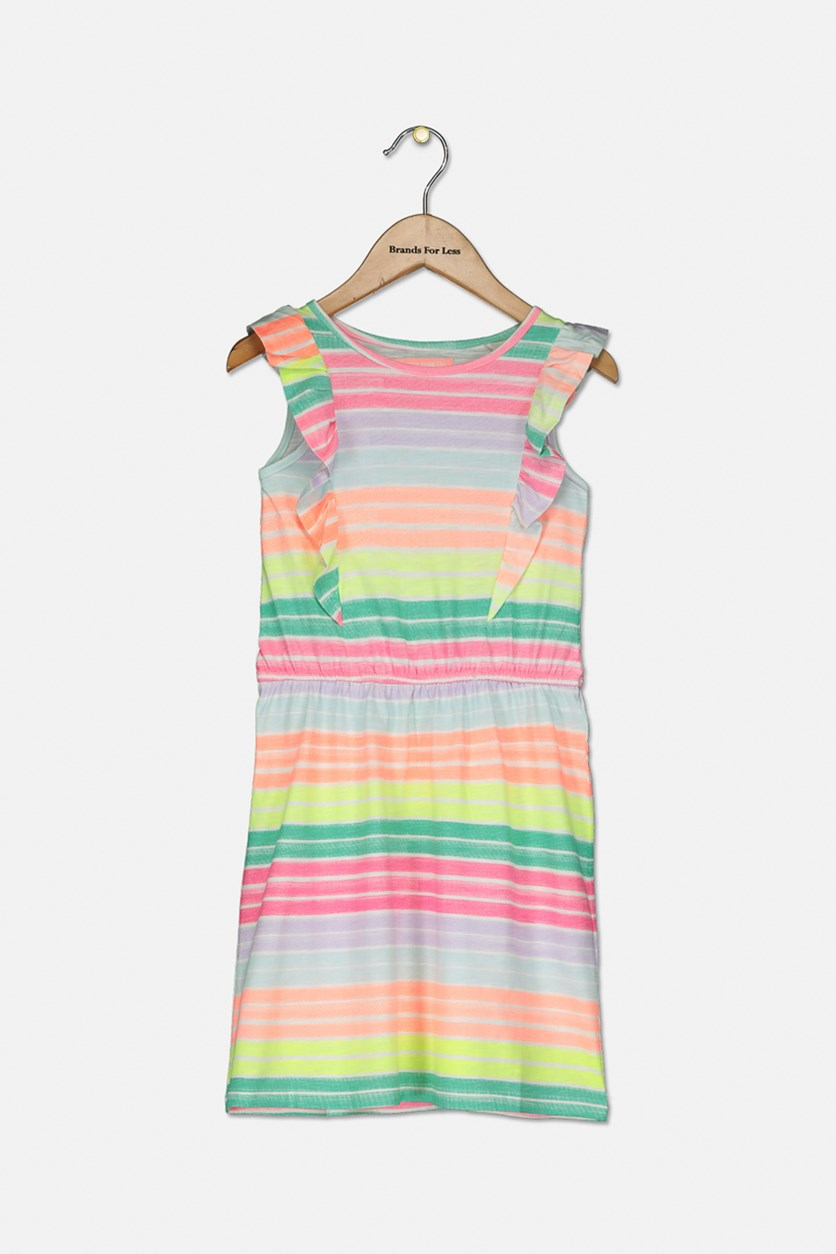 Kids Girls Stripe Print Dress, Pink Combo
