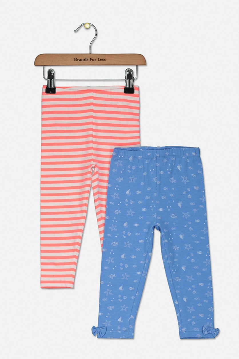 Toddler Girl's 2 Pack Stripes Leggings, Coral/Blue
