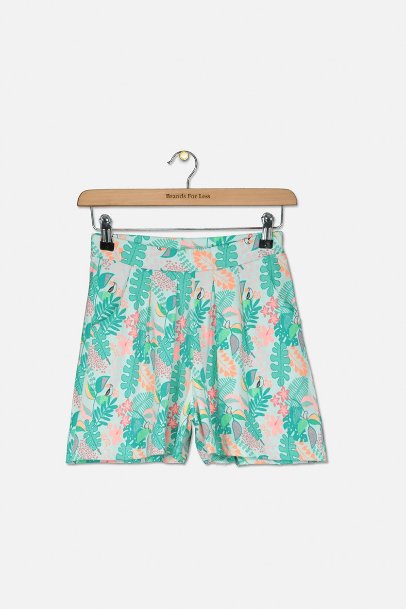 Girl's Printed Falda Shorts, Green Combo