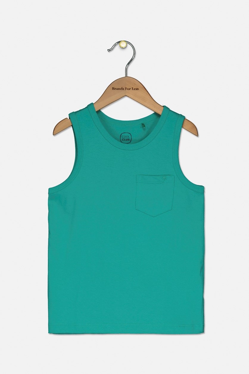Toddlers Boy's Front Pocket Tank Top, Green