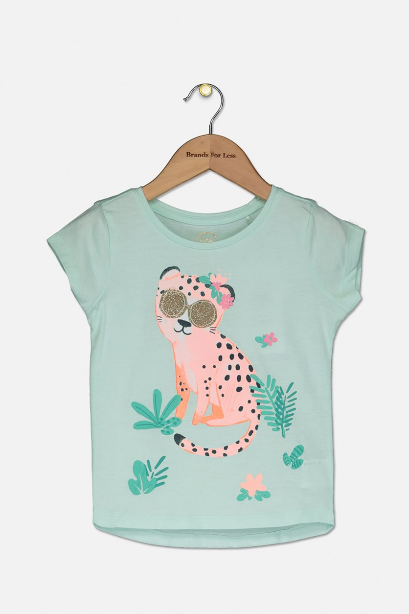 Toddlers Girl's Graphic Print Tee, Light Green Combo