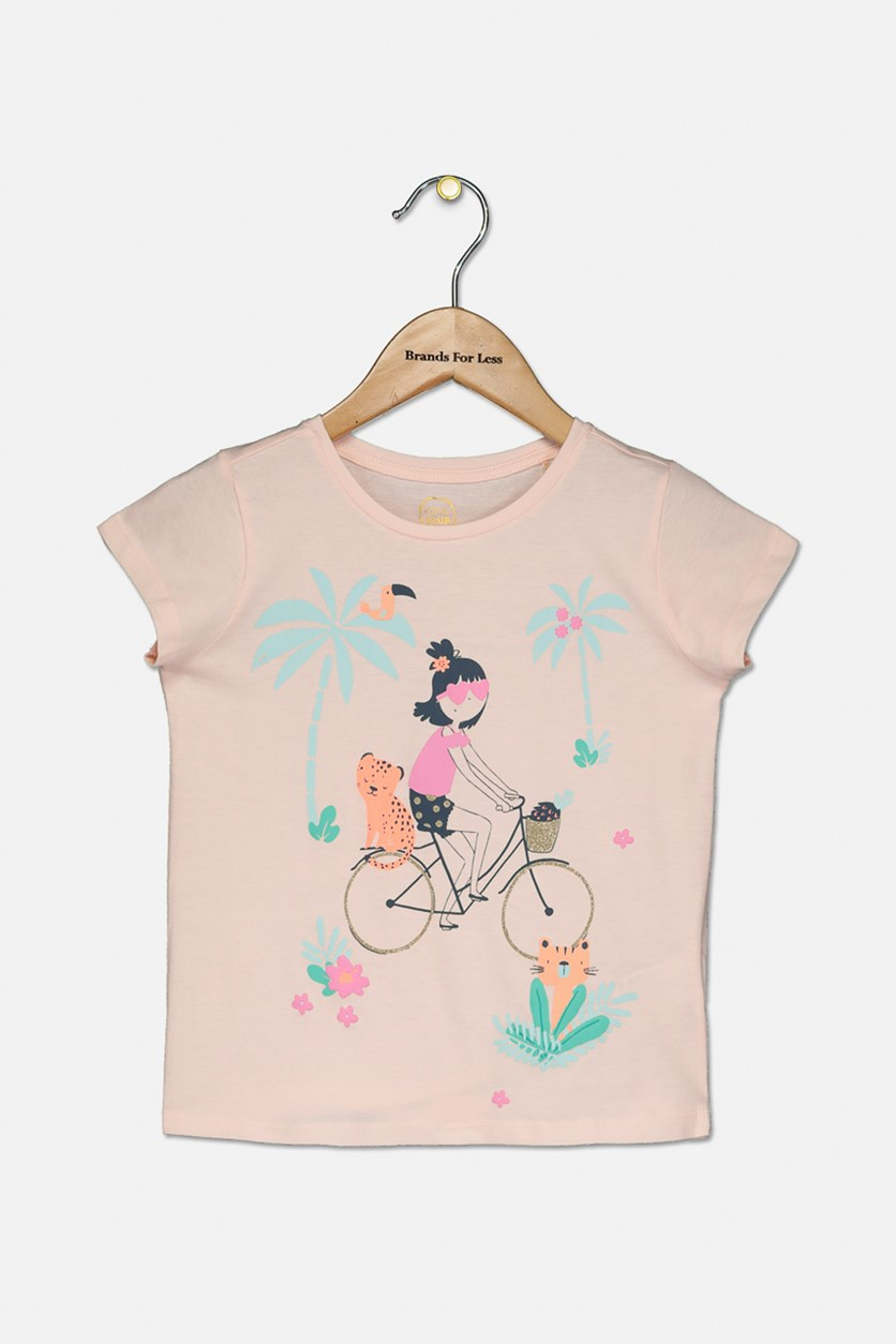 Girls Graphic Print Top, Blush