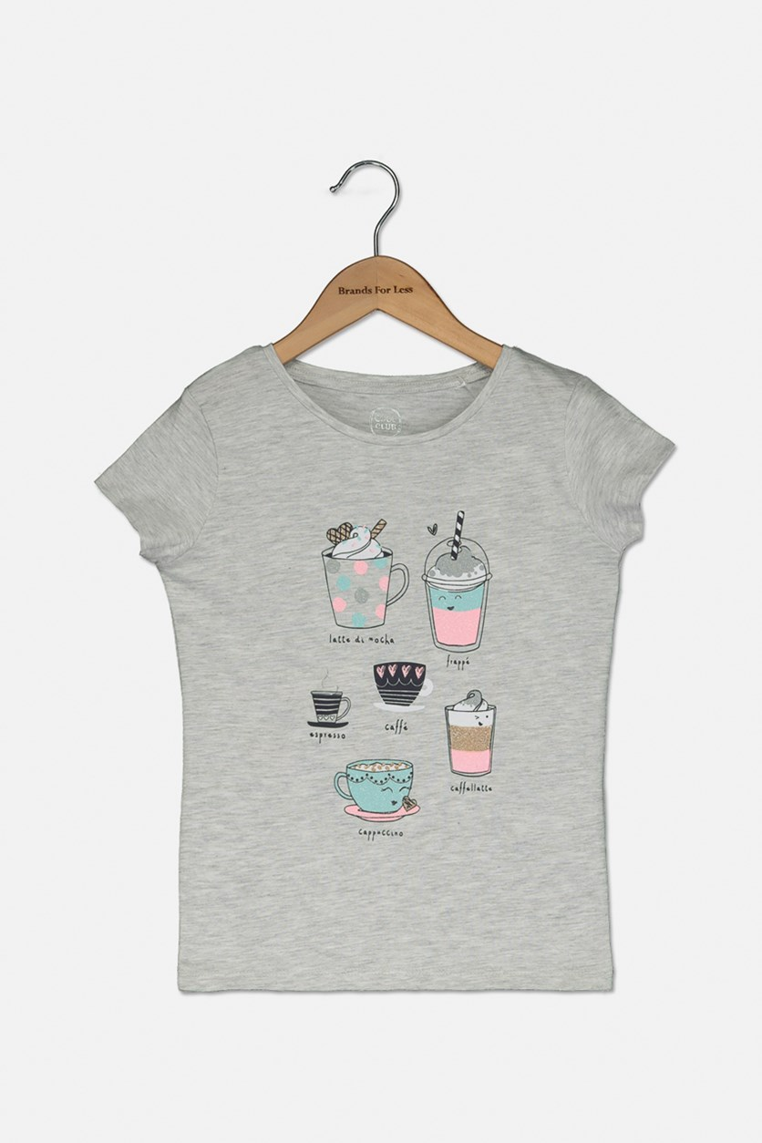 Toddlers Girls Cute Graphic Tee, Grey Combo