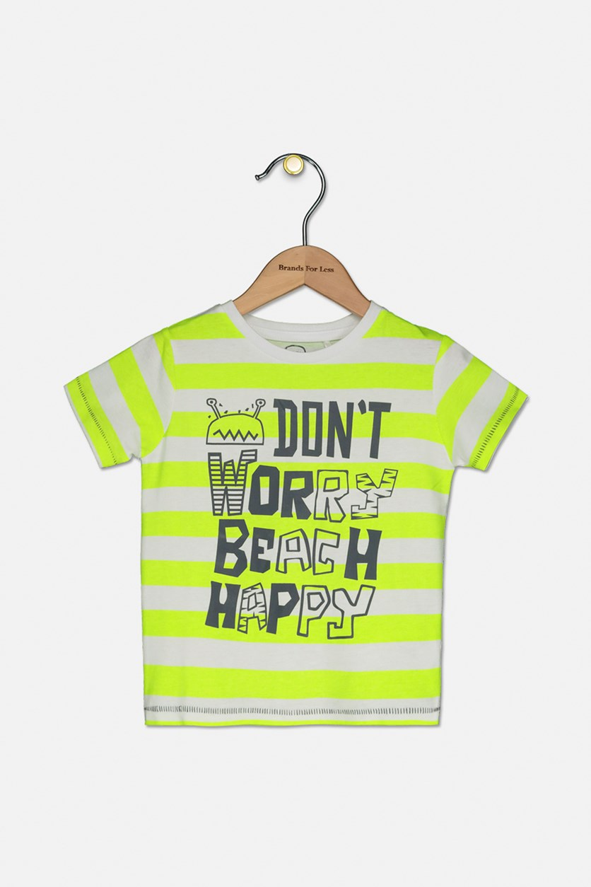 Toddler Don't Worry Beach Happy T-shirt, Neon Green/White
