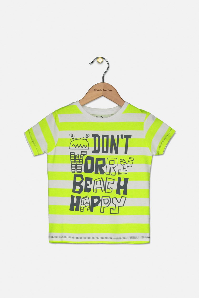 Boys Don't Worry Beach Happy T-shirt, Neon Green/White