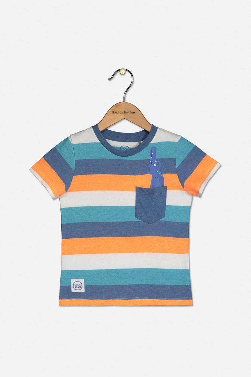 Toddler Boy's Striped Pocket Tee, Blue Combo