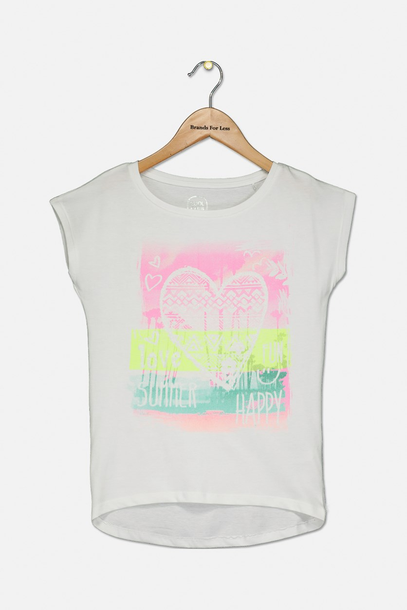 Girls Summer Happy Printed Top, White Combo