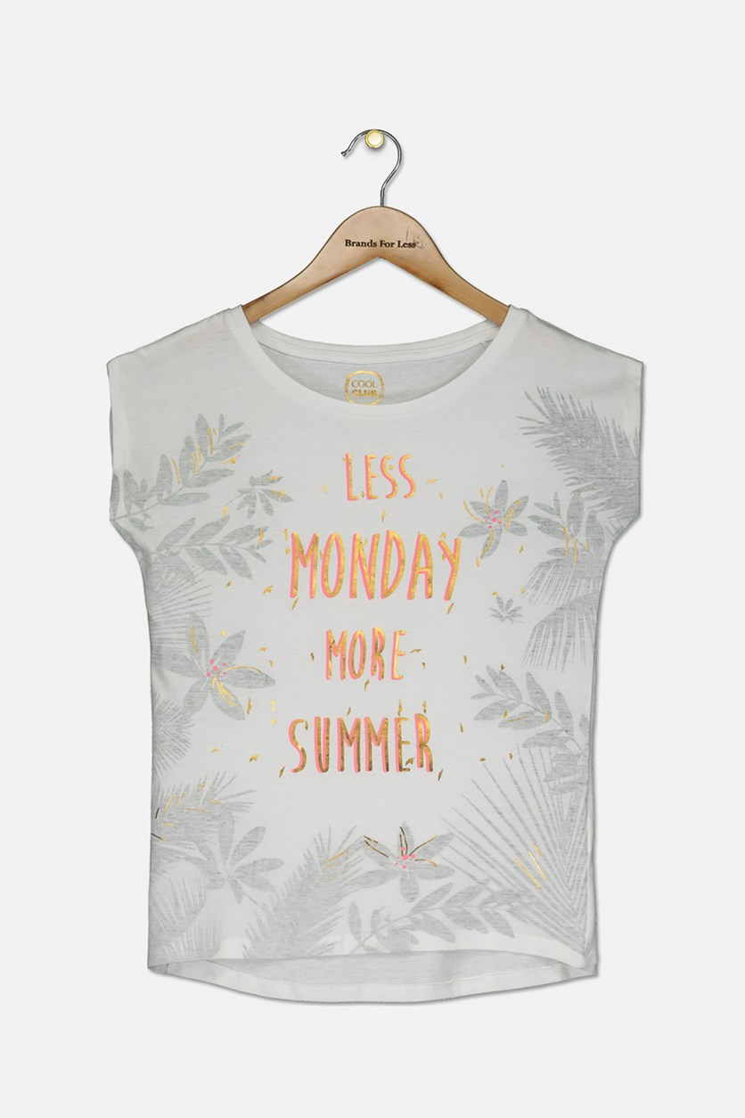 Girl's 'Less Monday More Summer' Print T-Shirt, White Combo