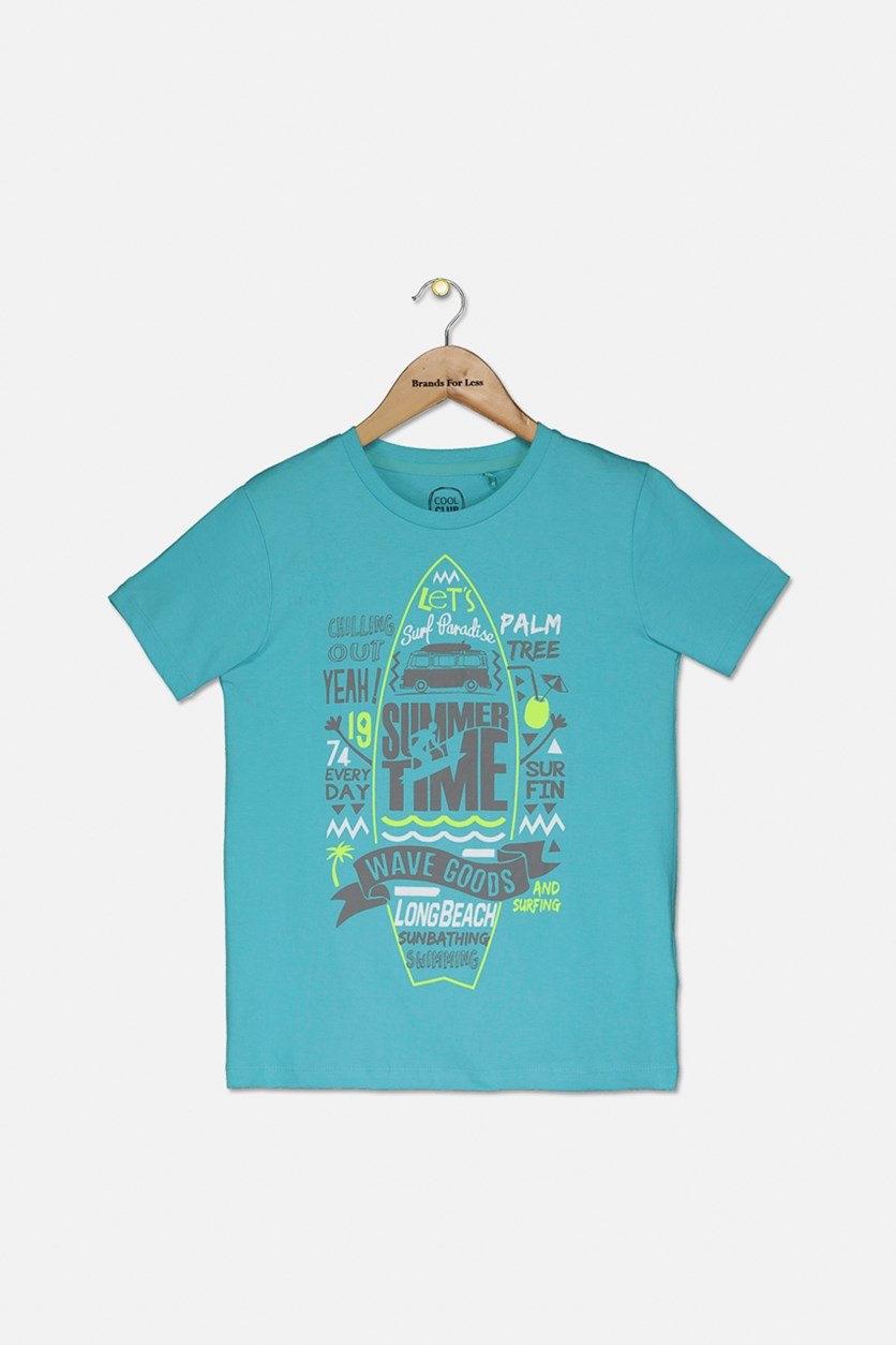 Boy's Short Sleeves Summer Time Print Tee, Turquoise