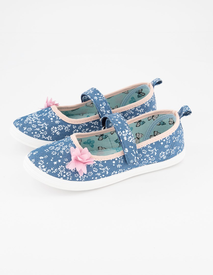 Girls Floral Pattern Shoes, Blue/Pink