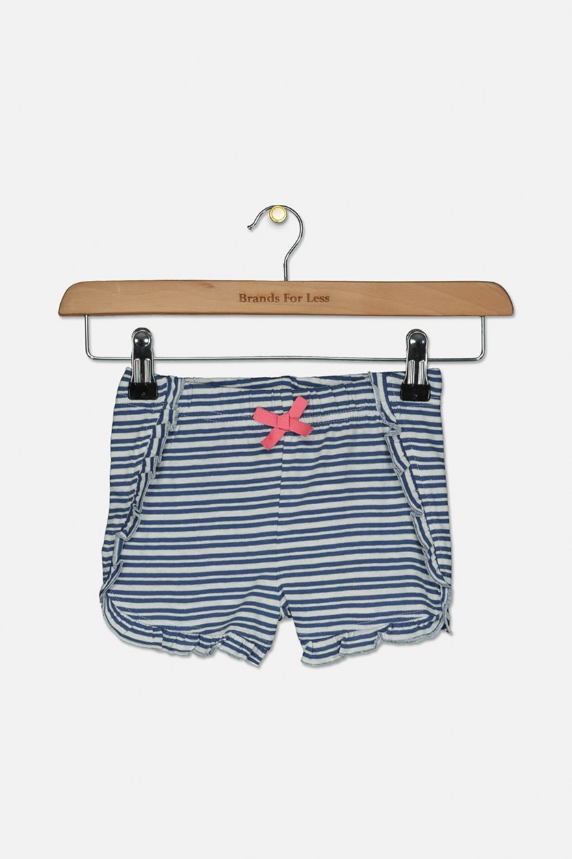Toddler Girls Riffle Hem Stripe Print Short, Navy/White