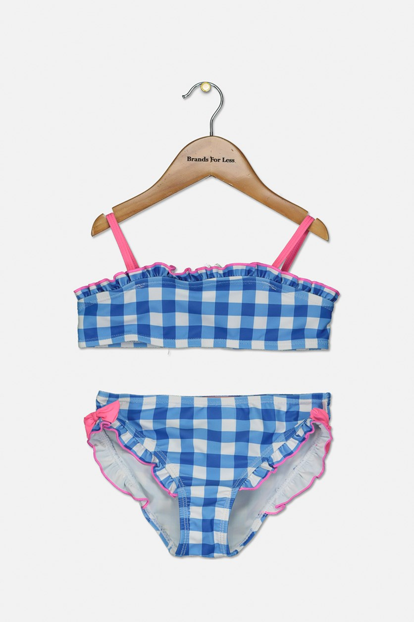 Kids Girls Plaid 2 Piece Set Swimsuit, Blue/White/Pink