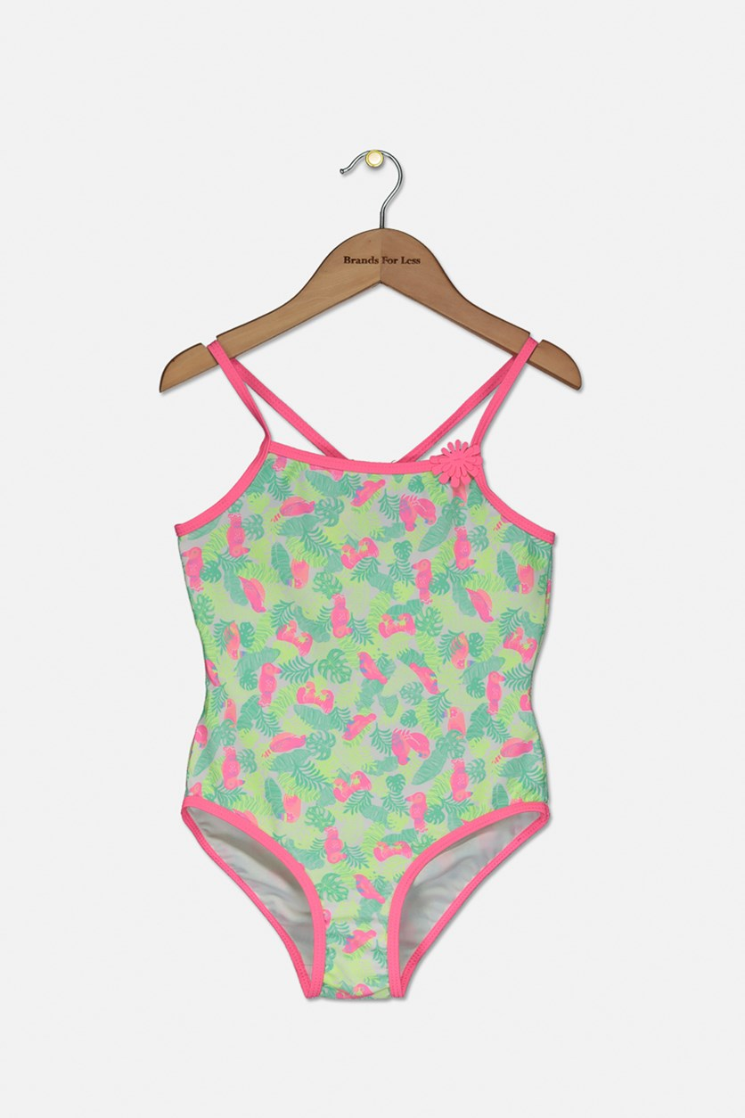Kids Girls Bird Print Swimsuit, Neon Pink/Lime/Turquoise