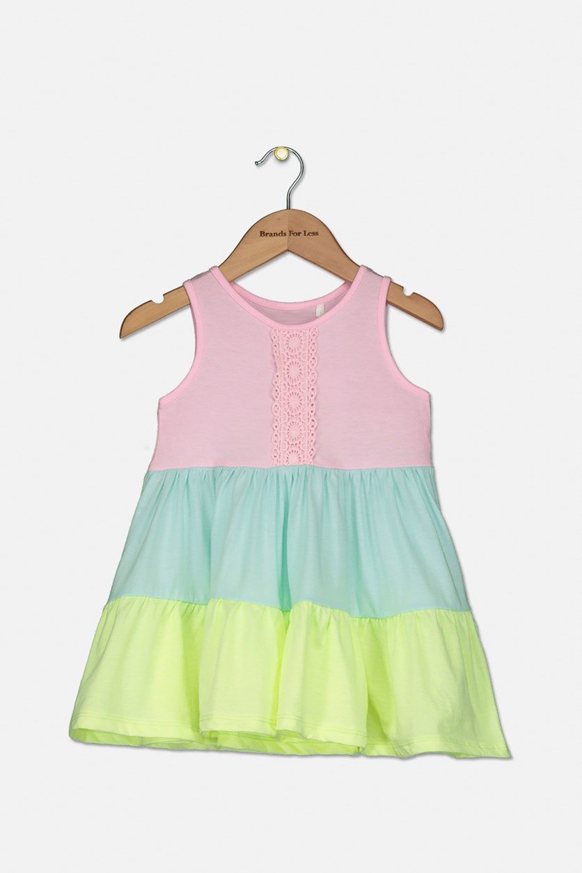 Baby Girl's Colorblock Dress, Pink/Aqua/Neon