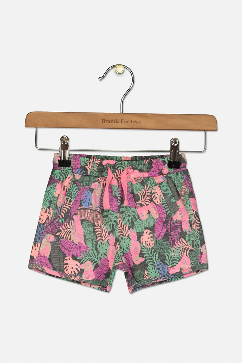 Toddler Girls Drawstring Printed Shorts, Pink Combo