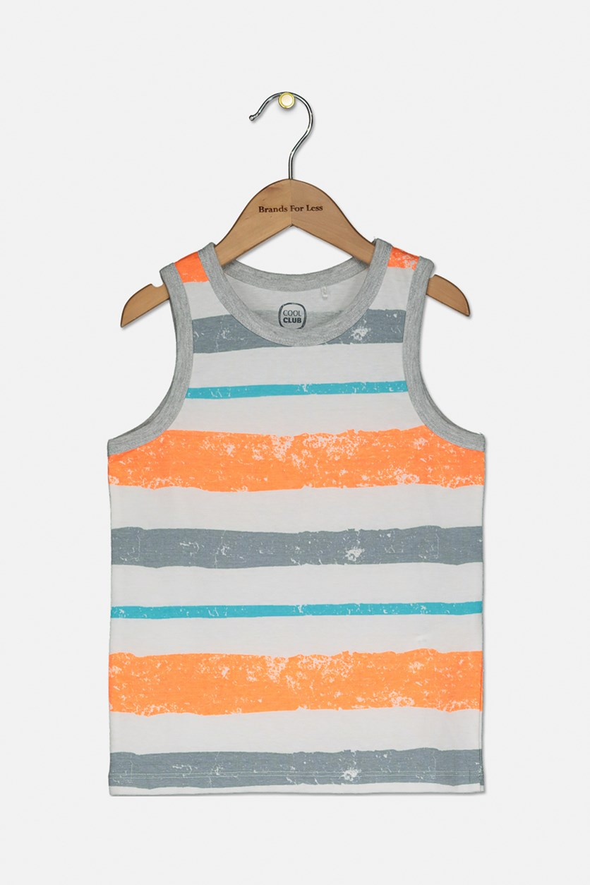 Toddler Boys Stripe Print Tank Top, White/Grey/Orange/Turquoise