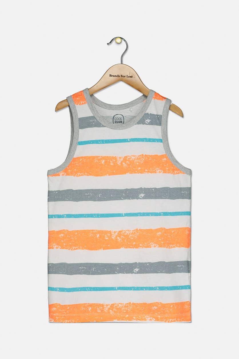 Kids Boys Graphic Stripe Tank Top, White/Orange Combo