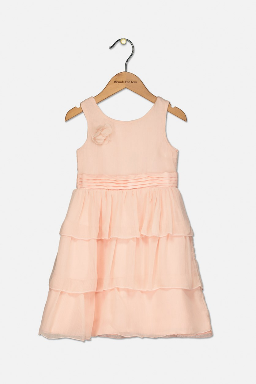 Toddlers Girls Ruffle Dress, Peach