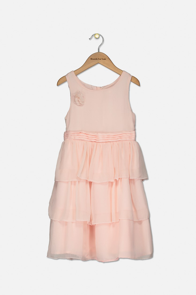 Kids Girls Ruffle Dress, Peach