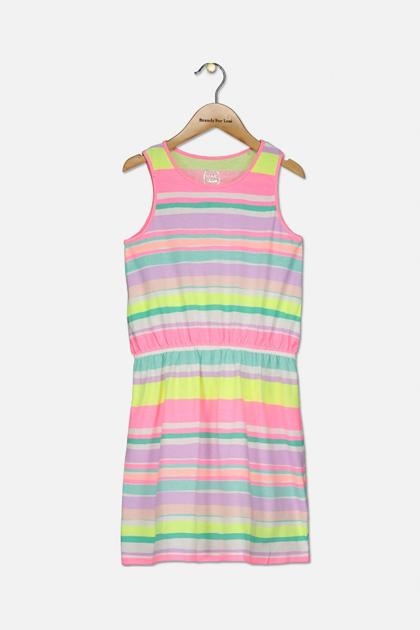 Kids Girls Stripe Dress, Pink/Turquoise/Lavender