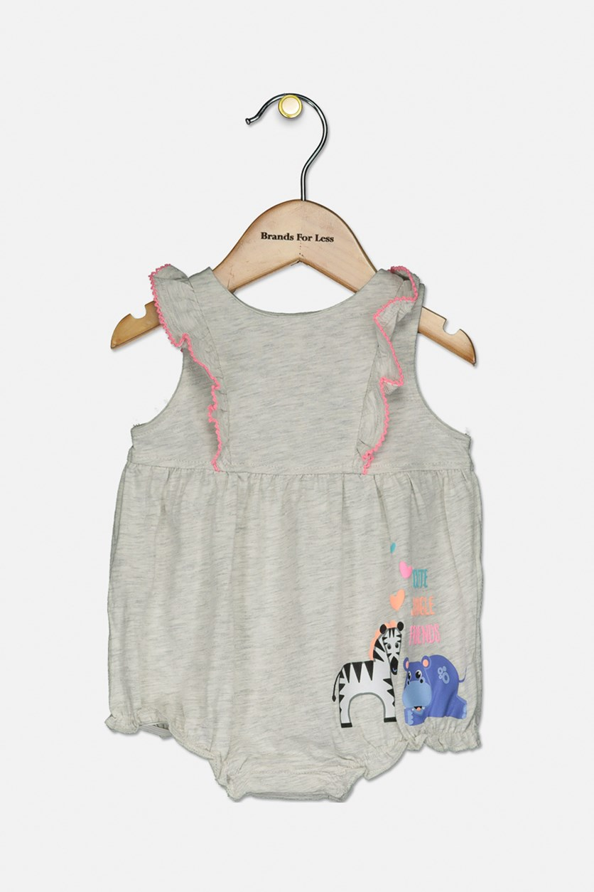Toddler Girl's Sleeveless Bodysuit, Wash Gray