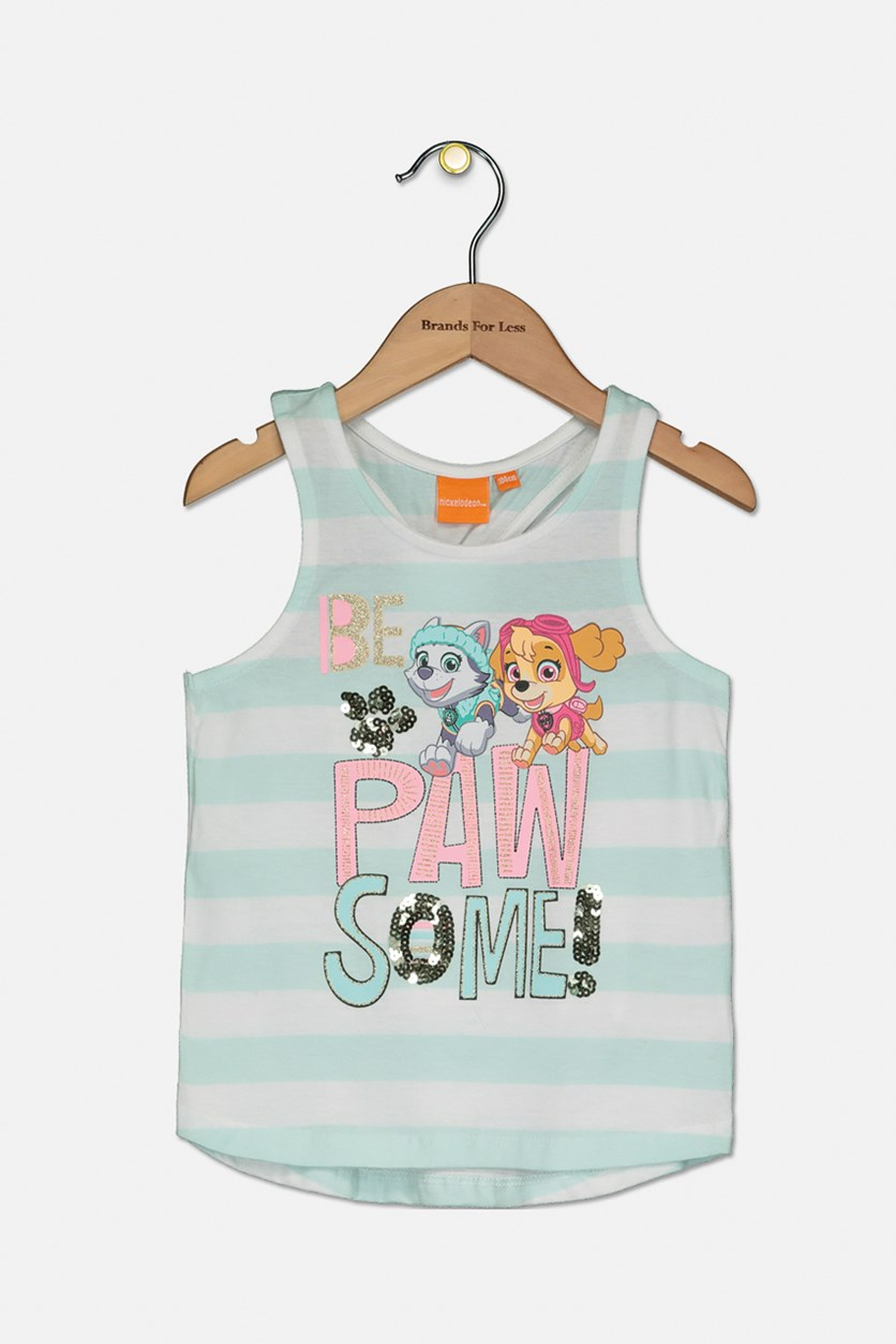 Toddler Girl's Sleeveless Graphic, Turquoise/White