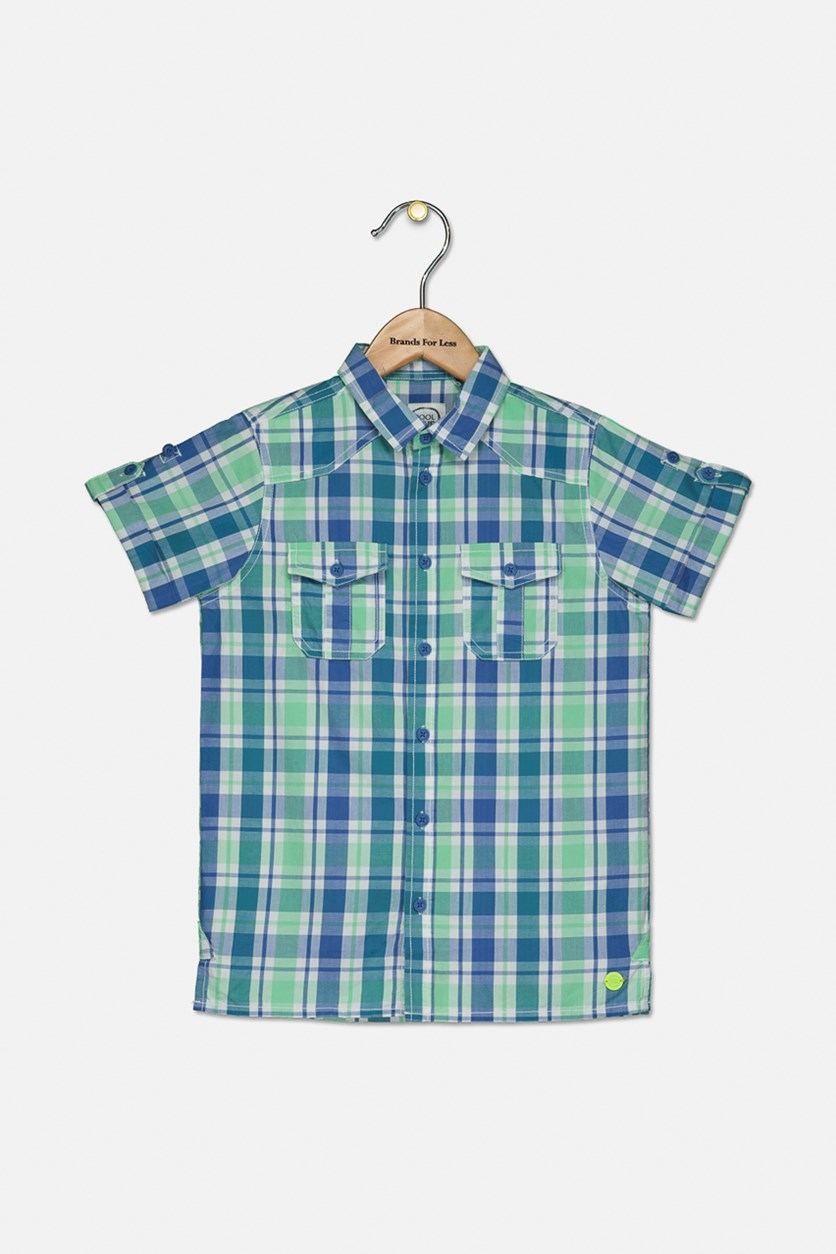 Kids Boys Plaid Pattern Shirt, Blue/Green