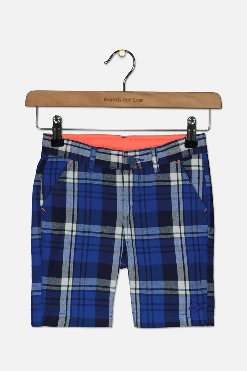Boy's Plaid Chino Shorts, Navy/White