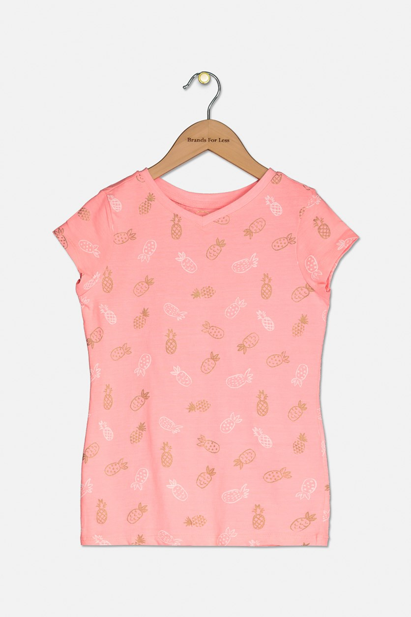 Girl's Graphic Printed V-Neck Tops, Coral